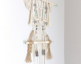 """Macrame Wall Hanging """"Nightingale"""" by Himo Art, One of a kind Handcrafted Macrame"""