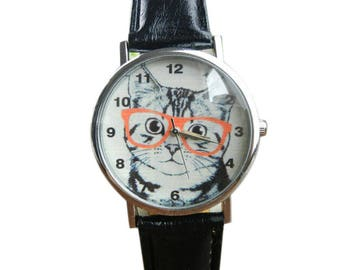 Women's Cute Cat with Glasses Watch Leather Band Analog Quartz Wristwatch Black White Pink Girls