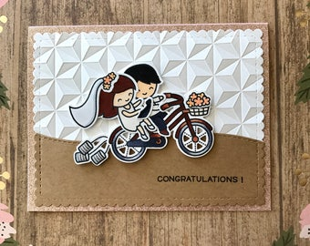 Congratulations! Wedding card, engagement, bridal shower, cute couple, tandem bike, One of a Kind card