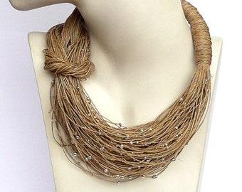 Linen Necklace natural Linen necklace Necklaces jewelry eco jewelry natural linen art unique gift tread natural color Bib Necklaces