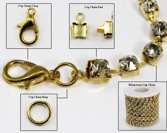 Gold Crystal Rhinestone Cup Chain Kit Over 10 Yards, Clasps, Ends and Rings Included For Jewelry Making