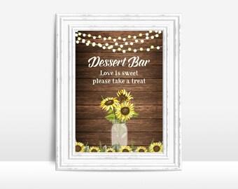 Dessert Bar Sign Printable, Wedding Sign, 5x7, Digital file - Rustic Dessert Bar Wedding Sign, Dessert Table Sign