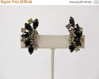 On Sale Vintage Prong Set Black and Clear Rhinestone Earrings Item K # 977