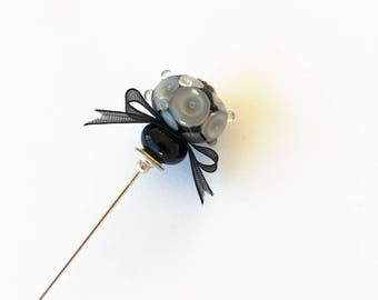 Vintage Style stick pin.  Lampwork hat stick pin. Murano glass lapel pin.  Gothic stick pin. Black and grey brooch pin. Glass jewelry.