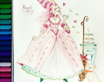 Marie Antoinette witch - Original illustration