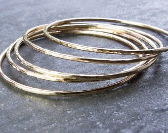 Hammered Goldfill Bangles, Choose Quantity. Skinny 14 Gauge 14/20 Goldfill Bracelet. Stacking Bangle Bracelets. Stackable Bracelet