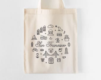 San Francisco Tote Bag | Farmers Market Tote | Grocery Bag | Shopping Bag | Gift for Her