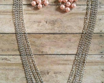 Bashful Pink pyramid Necklace and earring set