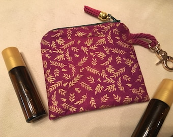 Magenta Gold Leaf Essential Oil Bag with Keyring (holds 3 bottles)