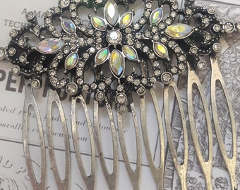 Ornate Crystal Burnished Silver Crystal Hair Comb Women's Hair Accessories