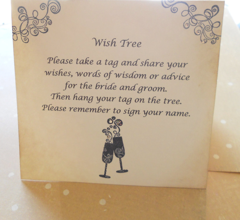 Wish Card Instruction Sign Wedding Tree Instructions