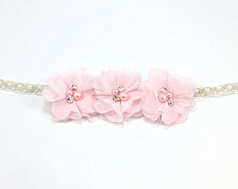pearl and beaded Headband, Pink Flower Girl Headband, Pink Headband, pink birthday headband, Pink flower headband, Pink Newborn headband