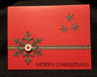 Homemade Christmas Greeting Card, Handmade Christmas Card, Christmas Card, Holiday Card, Holiday Greeting Card, Snowflake Greeting Card