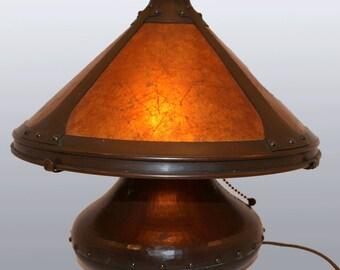 Hand Hammered Michael Adams Copper & Mica Boudoir Lamp - Aurora Studios