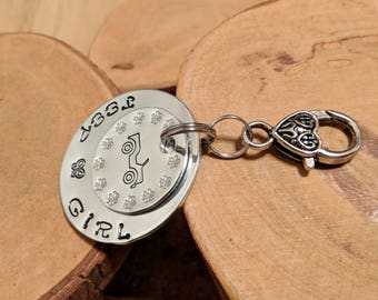 Jeep Girl Butterfly hand stamped silver aluminum charm key fob keychain accessory OIIIIIIIO