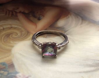 Amazing Mystique Topaz Sterling Silver Ring