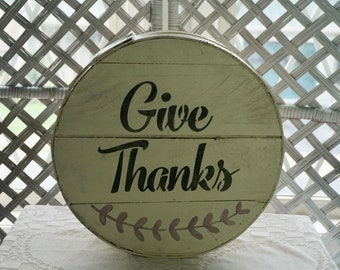 Give Thanks Sign on Vintage Cheese Box, Farmhouse Kitchen Decor, Dufeck's Cheese Box, French Country, Primitive Decor, Rustic Kitchen