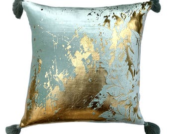 "Designer Sea Green Colour Gold Foil Printed Throw Pillow Cover, 18""x18"" Sea Green Velvet Print Pillowcase with Tassels - Glamorous Foil"