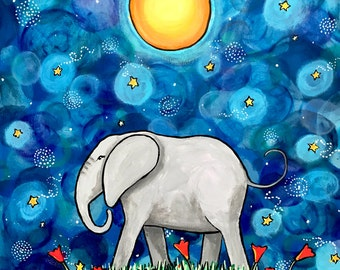 Elephant with flowers and Starry Sky Print Shelagh Duffett