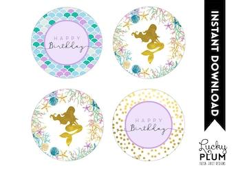 Mermaid Cupcake Toppers / Starfish Cupcake Toppers / Ocean Cupcake Toppers / Under the Sea Cupcake Toppers / Mermaid Round Label MD02