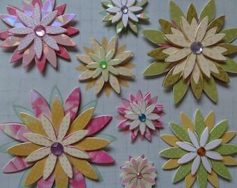 Santa Claus stickers 3D multicolor flowers