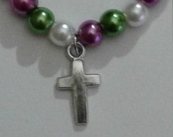 Cross Charm on Beaded Bracelet with Lobster Claw Clasp