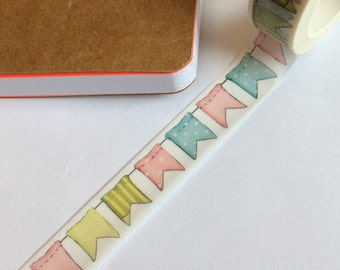 Washi tape, bunting, scrapbooking, planner, journal, tape, pastel, bunting washi tape, pastel washi tape, gift-wrapping, travel notebook