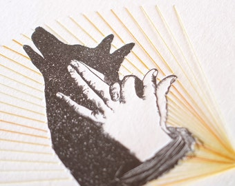 Dingo, pet lover, Letterpress hand shadow puppet print stitching, textile art, hand stitched, mixed media wall art, very limited DINGO