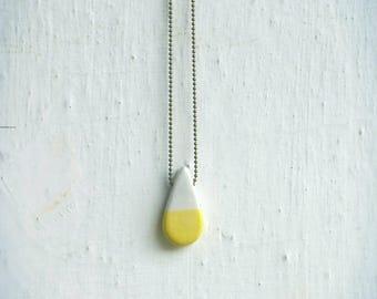 Yellow hand made ceramic drop necklace-ceramic drop yellow handmade
