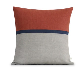 20x20 Horizon Line Pillow Cover, Sienna, Navy & Natural Linen Stripes by JillianReneDecor, Fall Home Decor, Sunset, Pantone Potter's Clay