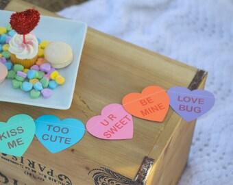 Candy heart garland, Conversation hearts, Valentine's decor, Valentine's garland, Paper heart garland, Girl birthday, Valentine photo prop