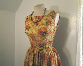 Orange Roses 60s Floral Dress Yellow Sheer Chiffon Roses party dress Deep back neckline 60s vintage Dress Full skirt style  XS