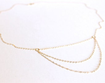Layered Chain Necklace - 3 Levels - 14k Gold Fill or Sterling Silver - Layering Necklace - Long Necklace - Chain Necklace - Delicate Thin