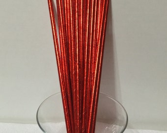 24 Red Metallic Foil Paper Party Straws. Cake Pop Straws. Drinking Straws. Party Supplies. Dessert Table. Baking Supplies