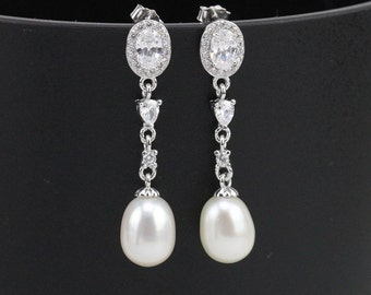 Silver and Crystal Freshwater Bridal Pearl Drop Earrings