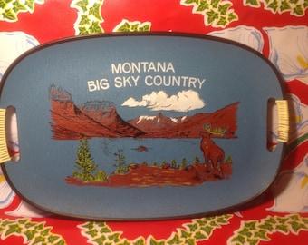 Vintage blue souvenir fiberglass serving tray- Montana, Big Sky Country