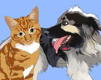 Custom Pet Portrait, Custom Pet Portrait Illustration, Pet Portrait, Personalized Pet Portrait, Gift for Pet Lover, Pet Art, Printable
