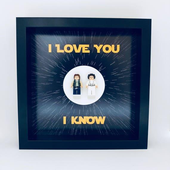 """Han Solo & Princess Leia """"I Love You, I Know"""" 2PC Minifigure Frame"""