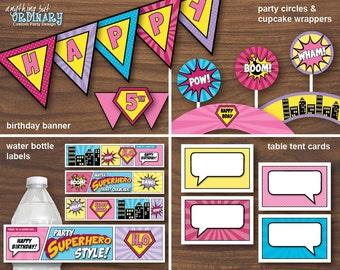 Girls Superhero Birthday, DIY Supergirl Printable Party Package, INSTANT DOWNLOAD, printable digital file