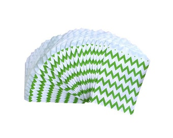 Bright Green Chevron Stripe Paper Treat Bags, Party Favor Bags, Party Supplies