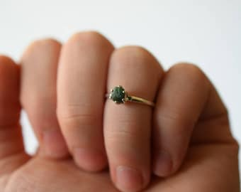 Natural Emerald Ring Raw Diamond Engagement Ring Rough Emerald and Diamond Wedding Band