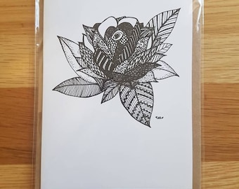 Rose Zentangle A6 Card with Envelope