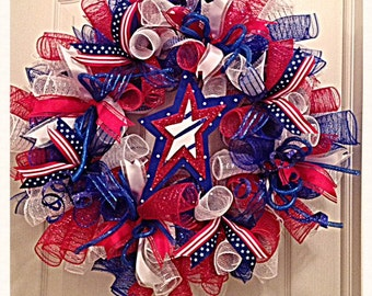 Patriotic and 4th of July Star Deco Mesh Wreath/Patriotic Wreath/4th Of July Wreath/Red White and Blue Wreath