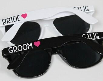 Set of Bride Groom Personalized Sunglasses, Bachelorette Gifts, Bachelorette Party Favors, Destination Wedding