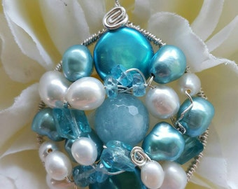 PENDANT Aquamarine Apatite Pearl Wire wrapped Sterling silver Round Pendant