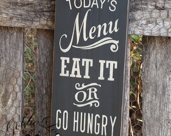 Todays Menu, Chalkboard Art, Word Art,Typography Pine Wall Sign