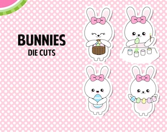 Kawaii BUNNIES Die Cuts | Fun, Cute, Adorable | 4 Die-Cut Stickers | DC002