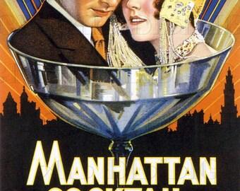 Manhattan COCKTAIL! Vintage Digital ILLUSTRATION. Flapper Digital DOWNLOAD. Digital Print. Printable Art Deco Image. Movie Poster