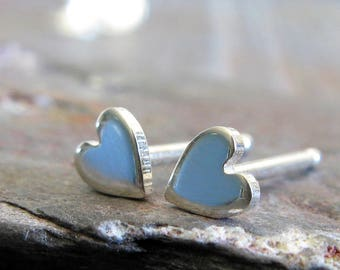 Minimalist tiny heart sterling silver post earrings. Reflective dots. Artisan handmade simple for everyday wear. Petite shiny gift for her.