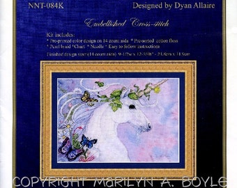 EMBELLISHED CROSS STITCH Kit; unicorn, fantasy, flowers, butterflies, vine,